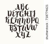 calligraphic vector font.... | Shutterstock .eps vector #718774621