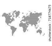striped gray world map on white ... | Shutterstock .eps vector #718774675