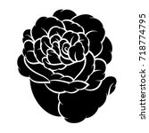 flower rose  black and white.... | Shutterstock .eps vector #718774795