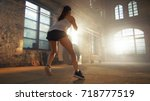 fit athletic woman does...   Shutterstock . vector #718777519