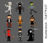 halloween monsters costumes on... | Shutterstock .eps vector #718779157
