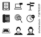 autocenter icons set. simple... | Shutterstock .eps vector #718783339