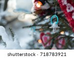 christmas background of a baby... | Shutterstock . vector #718783921