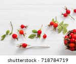 berries of a dogrose on a... | Shutterstock . vector #718784719