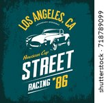 vintage roadster car vector... | Shutterstock .eps vector #718789099