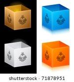 Set of color cardboard boxes