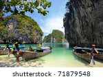 Long tailed boats in Thailand - stock photo