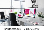 office desktop 3d rendering... | Shutterstock . vector #718798249