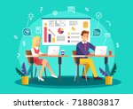 brainstorming creative team... | Shutterstock .eps vector #718803817