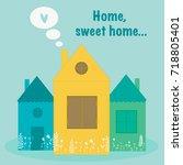set of houses. flat design... | Shutterstock .eps vector #718805401