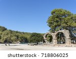 the remains of the aqueduct at... | Shutterstock . vector #718806025