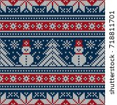 winter holiday knitting pattern ... | Shutterstock .eps vector #718811701