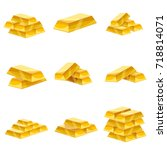 set of gold bars icon. cartoon... | Shutterstock .eps vector #718814071