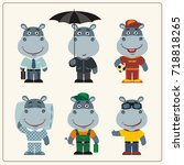 set funny hippo in different... | Shutterstock .eps vector #718818265