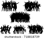dancing people silhouettes. | Shutterstock .eps vector #718818739