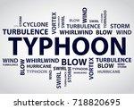 typhoon vector background word... | Shutterstock .eps vector #718820695