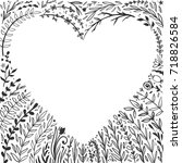 beautiful floral heart shaped... | Shutterstock .eps vector #718826584