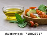 vegetable salad and a little... | Shutterstock . vector #718829317