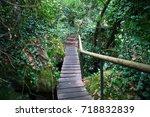 Wooden Footbridge And Log Step...