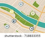 map with gps pointers for park... | Shutterstock .eps vector #718833355