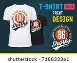 sportswear t shirt with print... | Shutterstock .eps vector #718833361