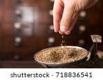 dry cumin seed or caraway seeds ... | Shutterstock . vector #718836541