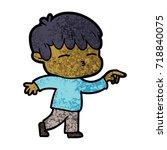 cartoon curious boy   Shutterstock .eps vector #718840075