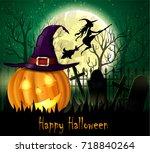 halloween spooky background | Shutterstock .eps vector #718840264