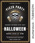 halloween celebration poster in ... | Shutterstock .eps vector #718840294
