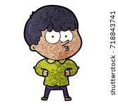 cartoon curious boy   Shutterstock .eps vector #718843741