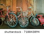a row of vintage bicycle and... | Shutterstock . vector #718843894