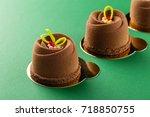 mini mousse pastry dessert... | Shutterstock . vector #718850755