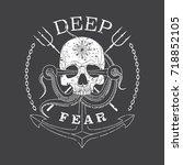 deep fear skull vector grunge... | Shutterstock .eps vector #718852105