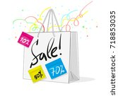 shopping bag with sale on white ...   Shutterstock .eps vector #718853035