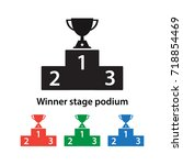 winner stage podium icon vector ... | Shutterstock .eps vector #718854469
