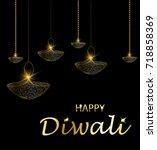 happy diwali vector... | Shutterstock .eps vector #718858369