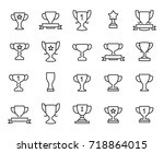premium set of trophy line... | Shutterstock .eps vector #718864015
