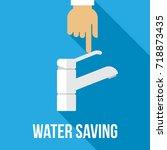 vector concept of water saving. ... | Shutterstock .eps vector #718873435