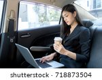 woman using laptop for working... | Shutterstock . vector #718873504