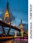 beauty of the bhumibol bridge... | Shutterstock . vector #718878319