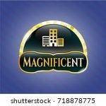 golden emblem or badge with... | Shutterstock .eps vector #718878775
