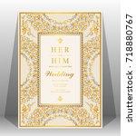 wedding invitation card...   Shutterstock .eps vector #718880767