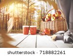 autumn table of free space for... | Shutterstock . vector #718882261