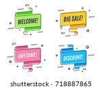 Flat linear promotion ribbon banner, scroll,  price tag, sticker, badge, poster. Vector illustration set | Shutterstock vector #718887865