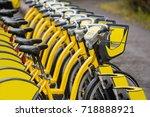 row of rental bikes | Shutterstock . vector #718888921