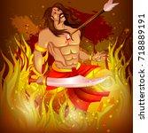 vector illustration of ravana... | Shutterstock .eps vector #718889191