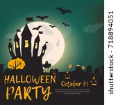 happy halloween. halloween... | Shutterstock .eps vector #718894051