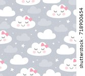 seamless clouds pattern vector... | Shutterstock .eps vector #718900654