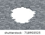 gray slate stone rock wall with ... | Shutterstock . vector #718903525