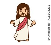 jesus christ in cute cartoon... | Shutterstock .eps vector #718905211